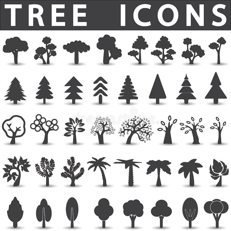 Ícones da árvore ajustados ilustração stock