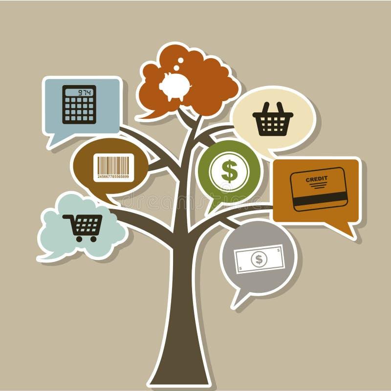 Ícones da árvore do comércio ilustração stock