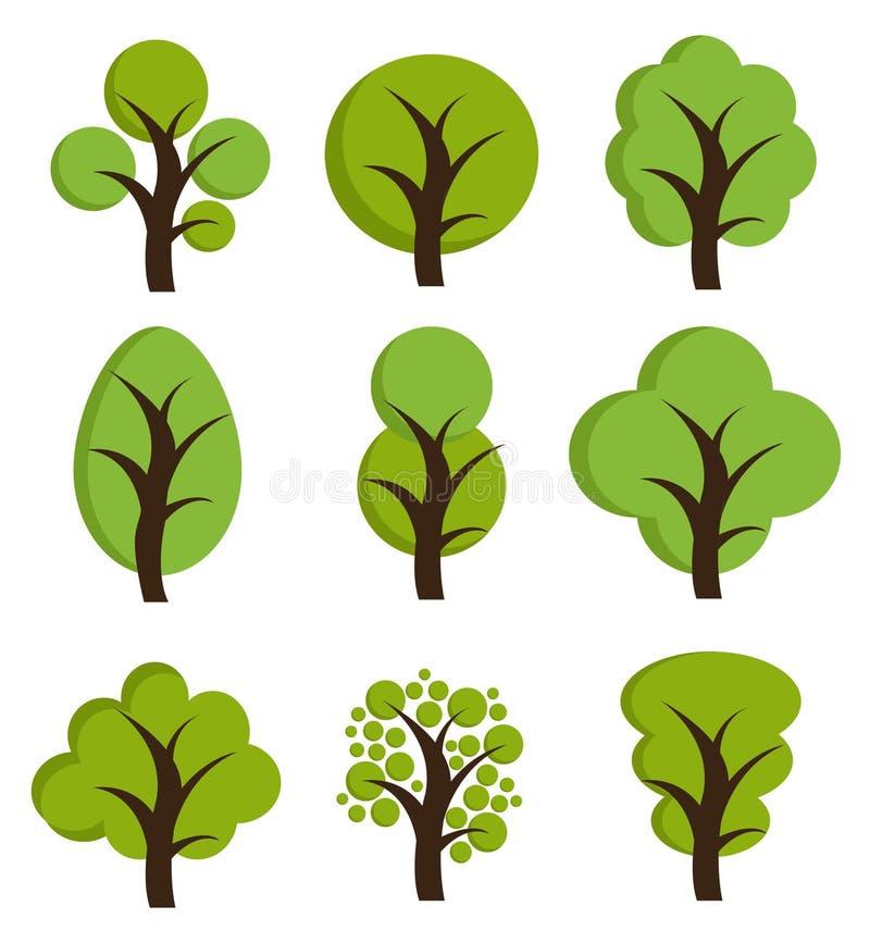 Ícones da árvore, grupo de árvores ilustração royalty free