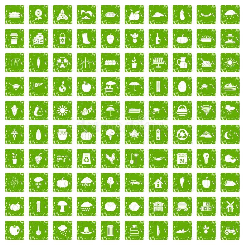 100 ícones da abóbora ajustaram o verde do grunge ilustração do vetor