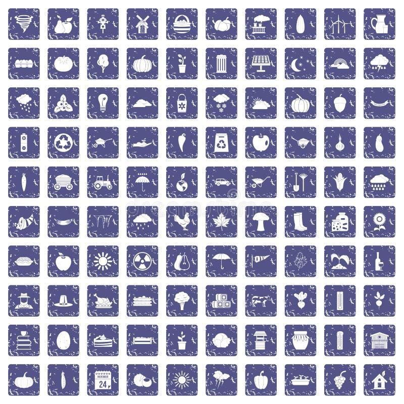 100 ícones da abóbora ajustaram a safira do grunge ilustração royalty free