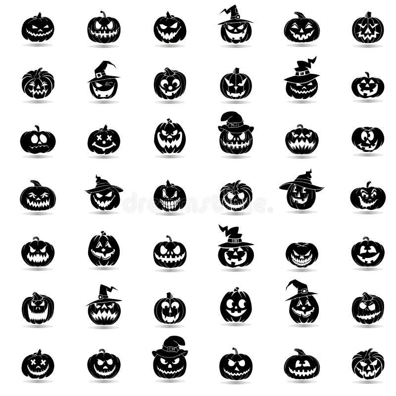 Ícones da abóbora 42 de Dia das Bruxas ajustados ilustração royalty free