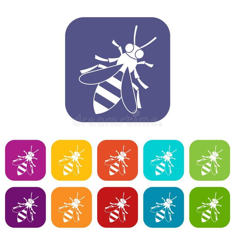 Ícones da abelha do mel ajustados ilustração stock