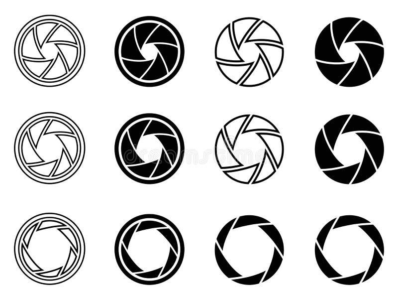Ícones da abertura do obturador da câmera ilustração royalty free