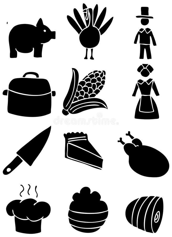 Ícones da acção de graças - preto e branco ilustração stock