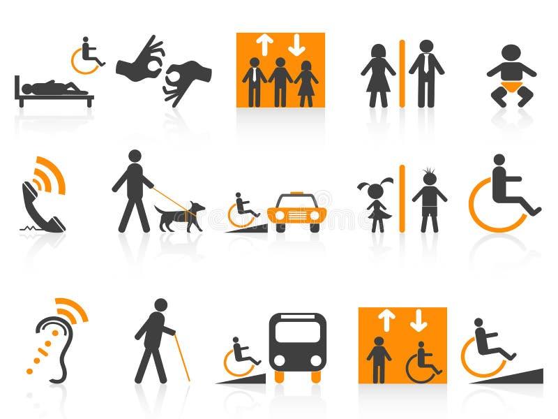 Ícones da acessibilidade ajustados ilustração stock