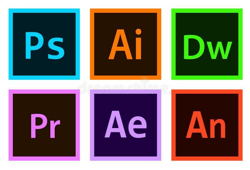 Ícones da Adobe Photoshop, Illustrator, Após efeito, Premiere, Indesign etc. Vetor Editorial Além disso, mídia ilustração stock