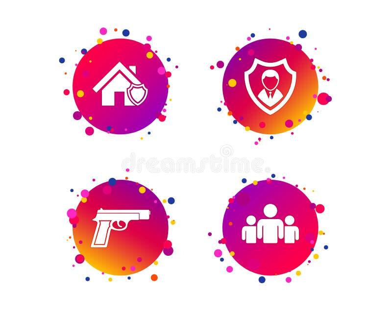 Ícones da agência de segurança Proteção home do protetor Vetor ilustração royalty free