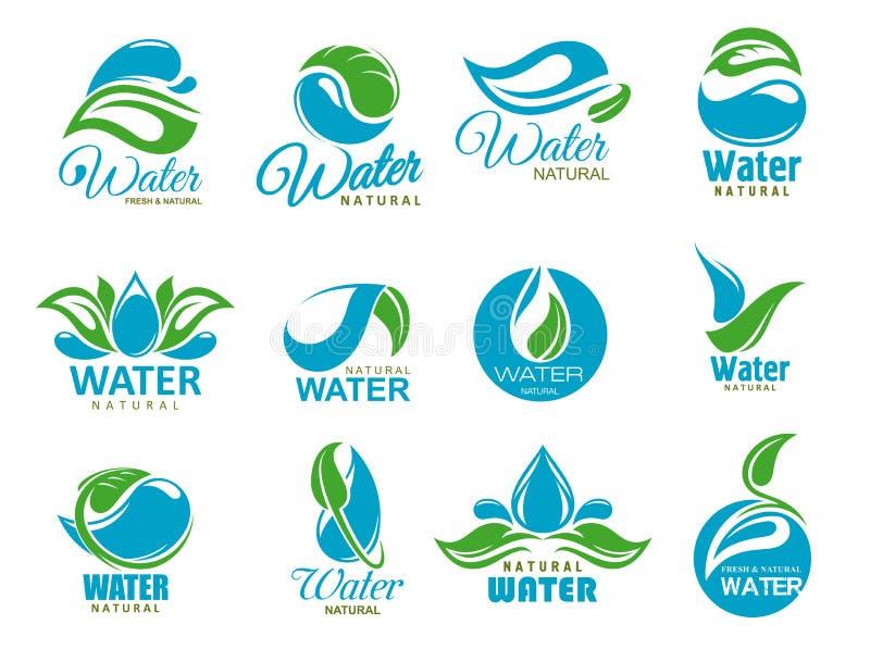 Ícones da agua potável com gotas azuis e a folha verde ilustração do vetor