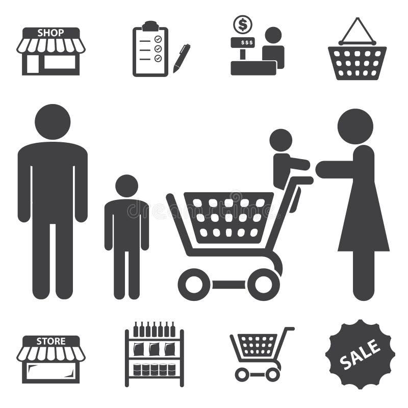 Ícones da alameda e da compra do mercado ajustados ilustração stock