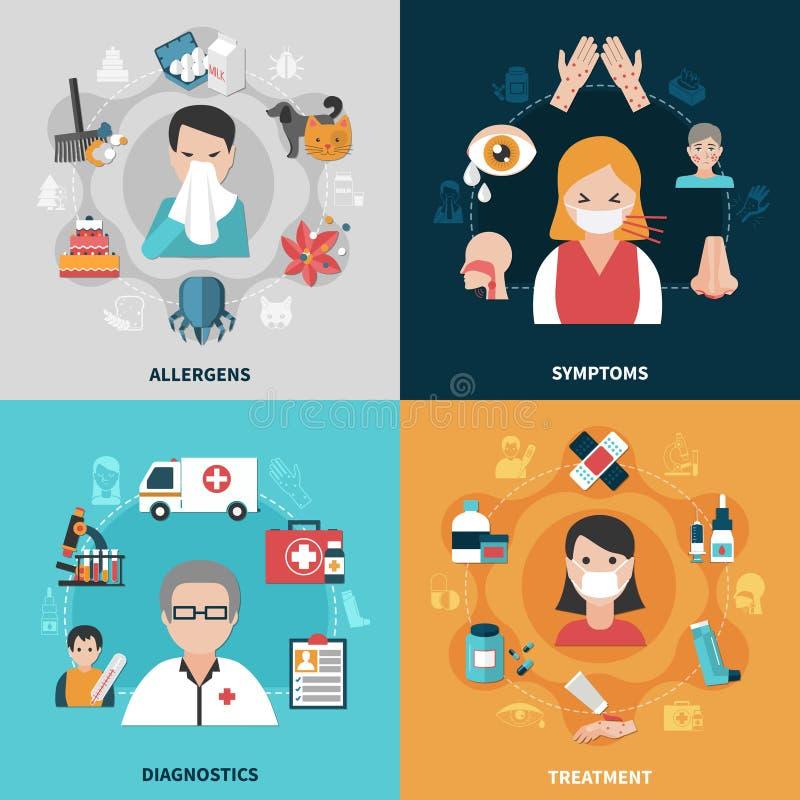 Ícones da alergia 2x2 ajustados ilustração stock