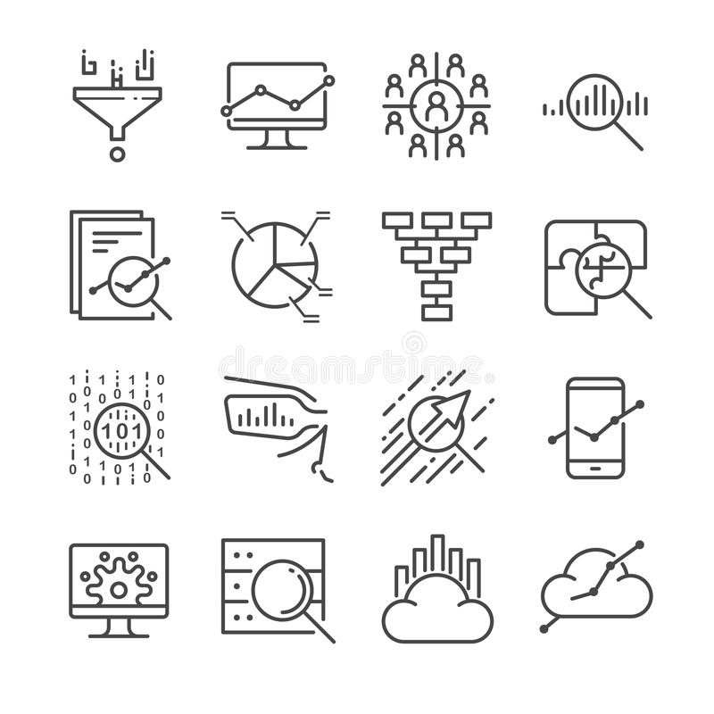 Ícones da análise de dados ajustados ilustração stock