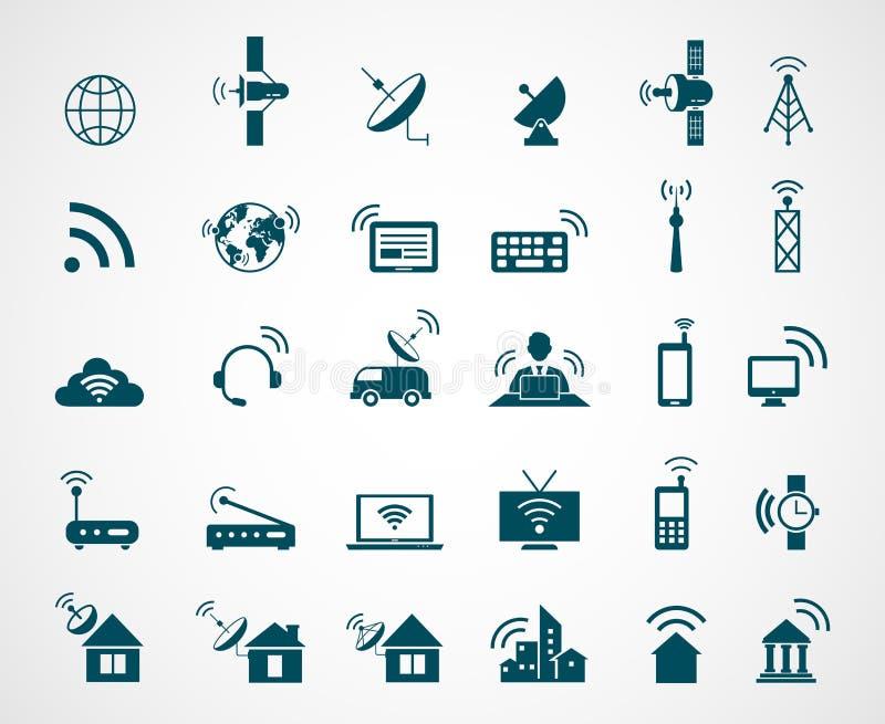Ícones da antena e da tecnologia sem fios ilustração stock