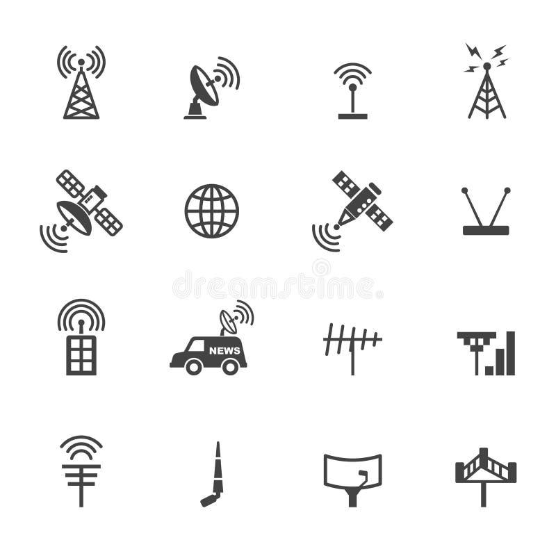 Ícones da antena e do satélite ilustração do vetor