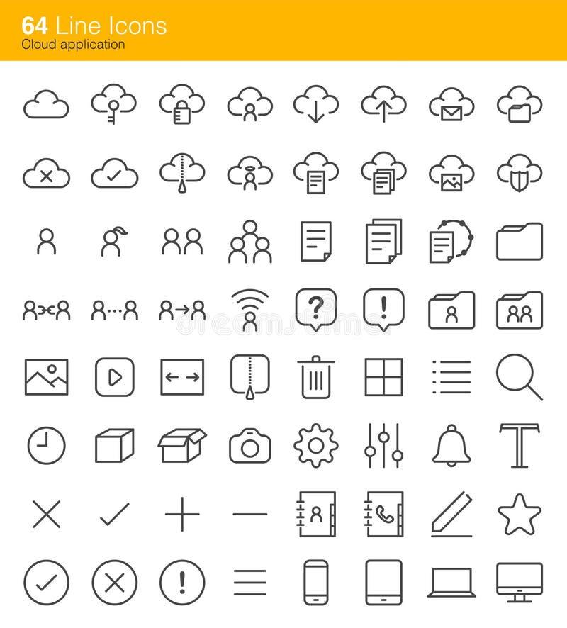 Ícones da aplicação da nuvem ilustração stock