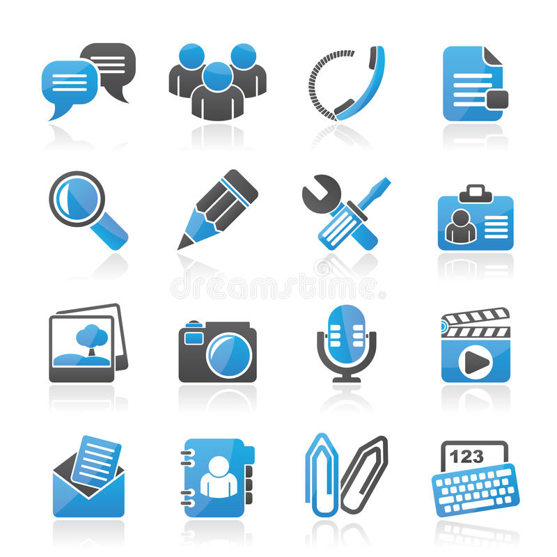 Ícones da aplicação e da comunicação do bate-papo ilustração do vetor