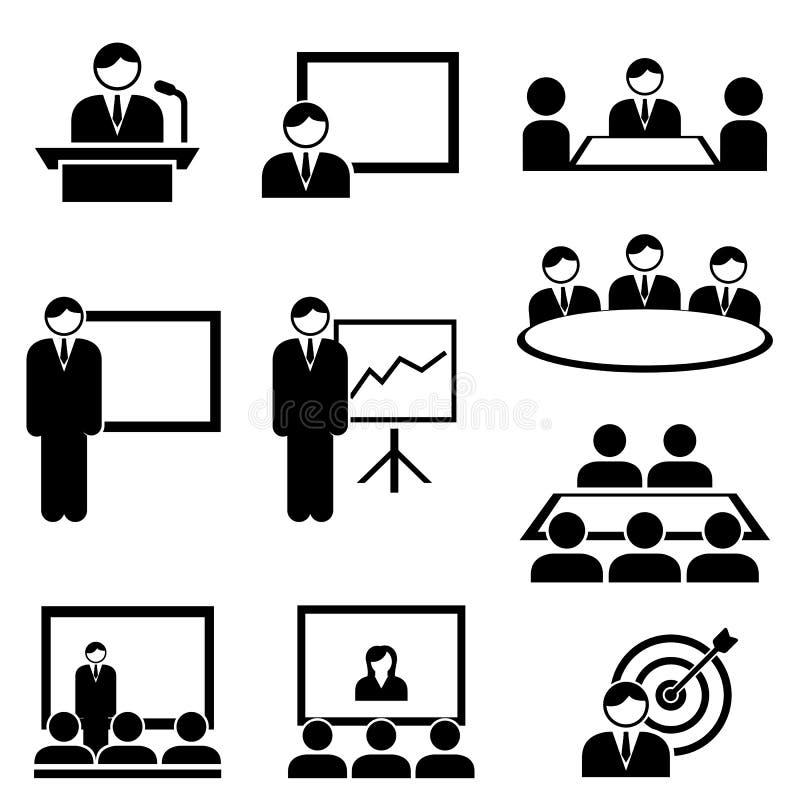 Ícones da apresentação e da reunião do negócio ilustração do vetor