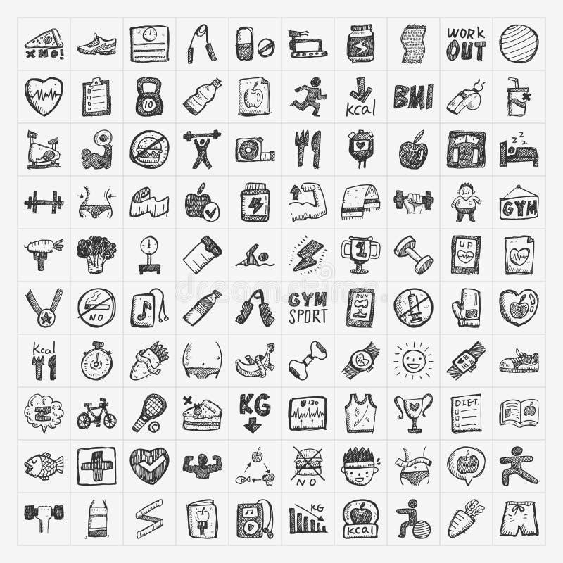 Ícones da aptidão da garatuja ilustração stock