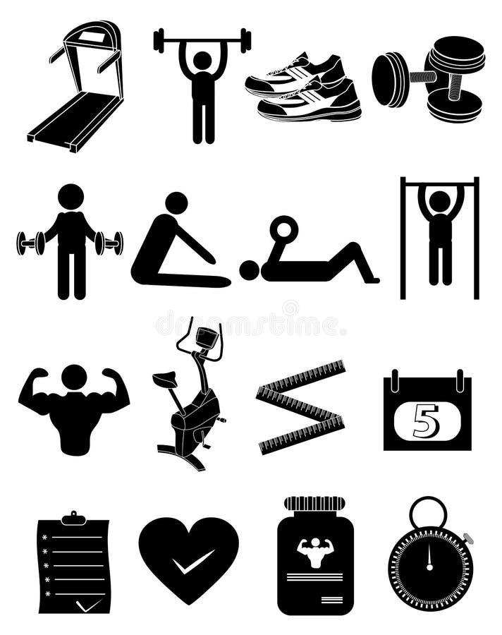 Ícones da aptidão do exercício do Gym ajustados ilustração stock