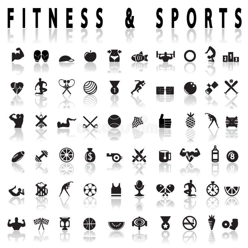 Ícones da aptidão e dos esportes ilustração stock