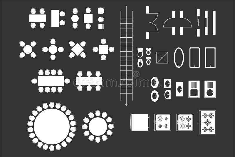 Ícones da arquitetura para o projeto de plano ilustração do vetor