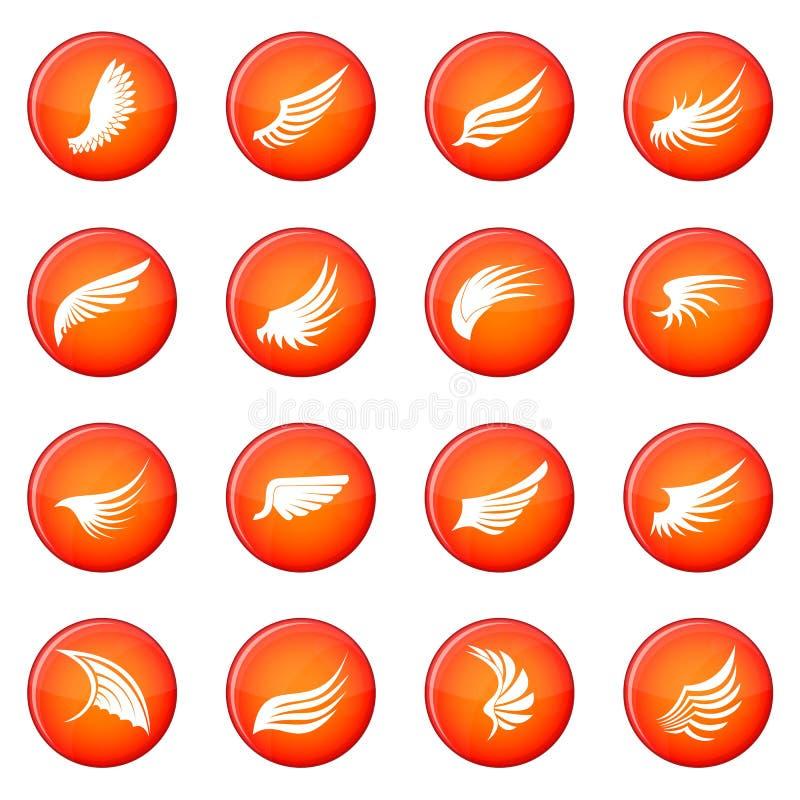 Ícones da asa ajustados ilustração stock