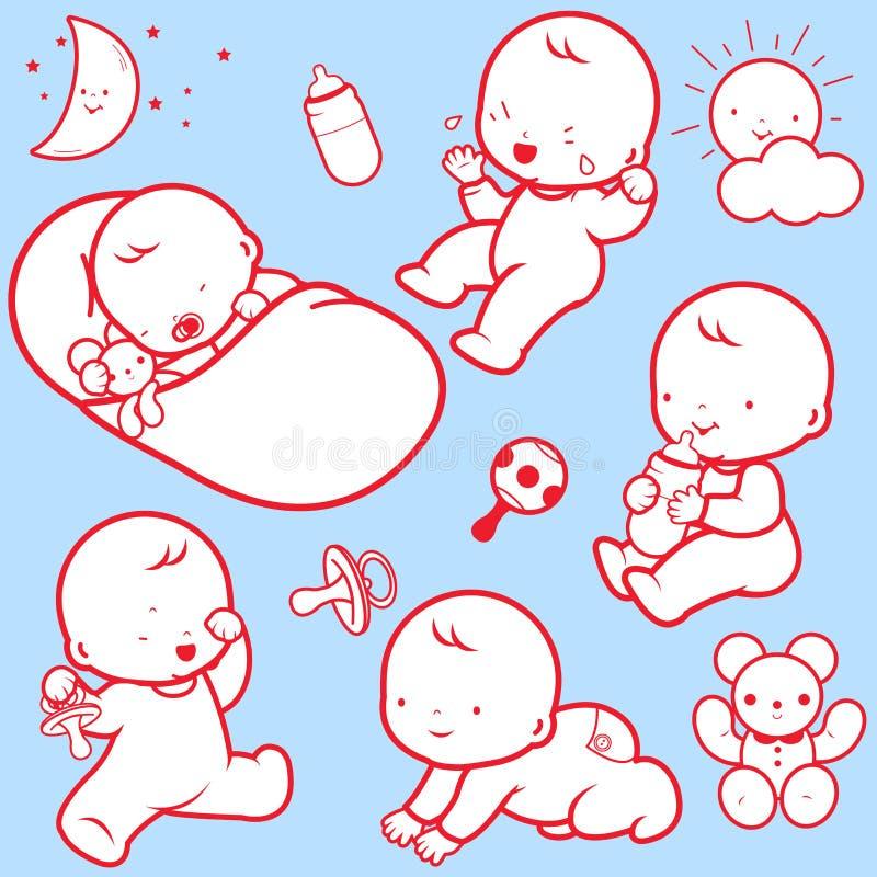 Ícones da atividade do bebê ilustração do vetor