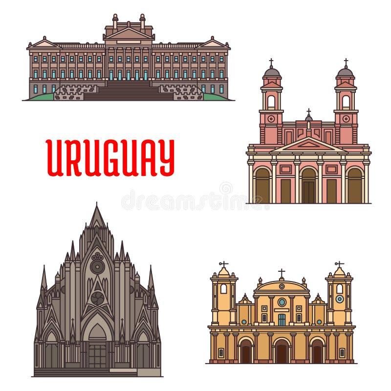 Ícones da atração turística da arquitetura de Uruguai ilustração stock