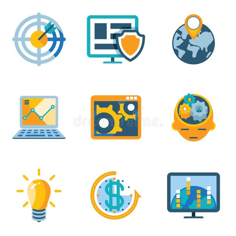 Ícones da automatização de processo e da eficiência do aumento ilustração do vetor