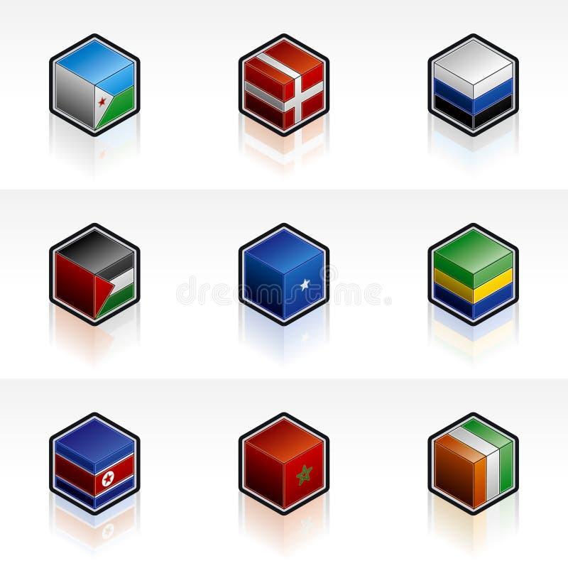 Ícones da bandeira ajustados - elementos 56j do projeto ilustração do vetor