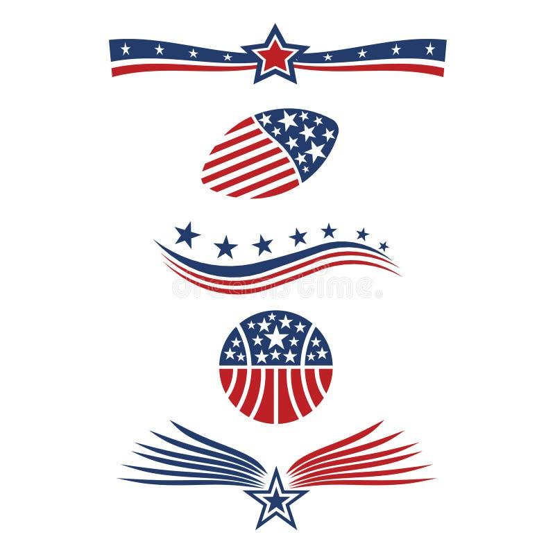 Ícones da bandeira da estrela dos EUA ilustração royalty free