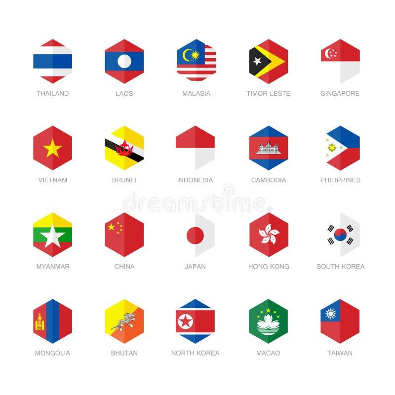 Ícones da bandeira de Ásia Oriental e de 3Sudeste Asiático Projeto liso do hexágono ilustração stock