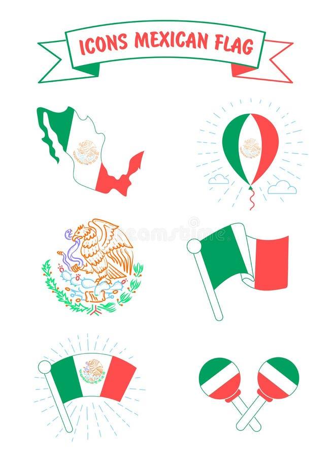 Ícones da bandeira e da brasão de México ilustração royalty free