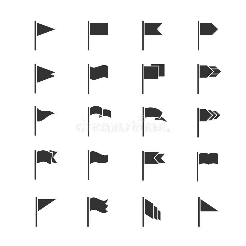 Ícones da bandeira negra Vector as silhuetas de ondulação das bandeiras isoladas no fundo branco ilustração royalty free