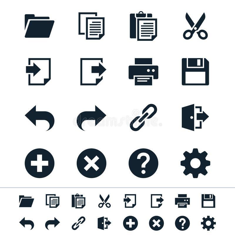 Ícones da barra de ferramentas da aplicação ilustração stock