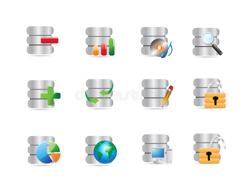 Ícones da base de dados ilustração stock