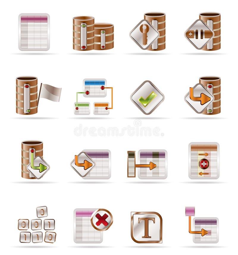 Ícones da base de dados e da tabela ilustração stock