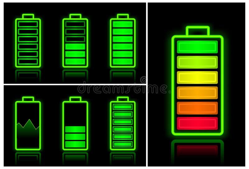 Ícones da bateria ilustração stock