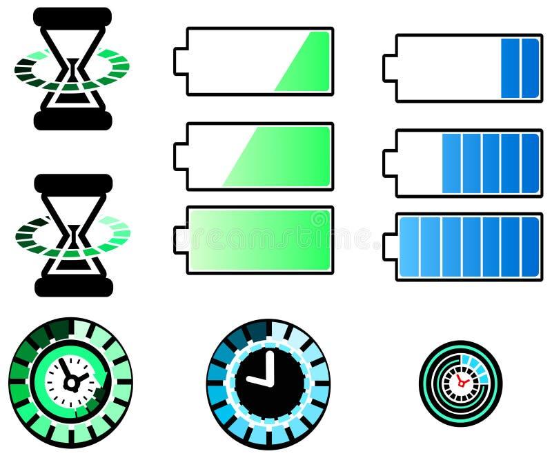 Ícones da bateria e do sincronismo ajustados ilustração do vetor