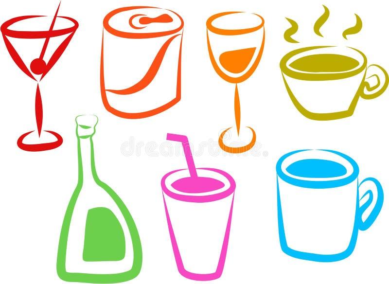 Ícones da bebida ilustração stock