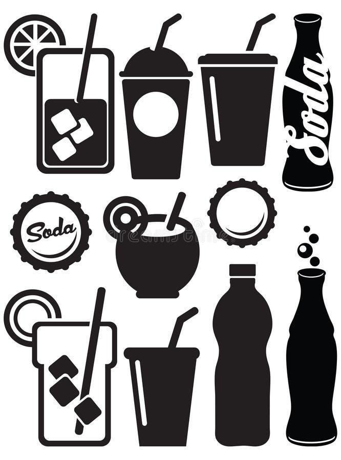 Ícones da bebida da soda ilustração do vetor