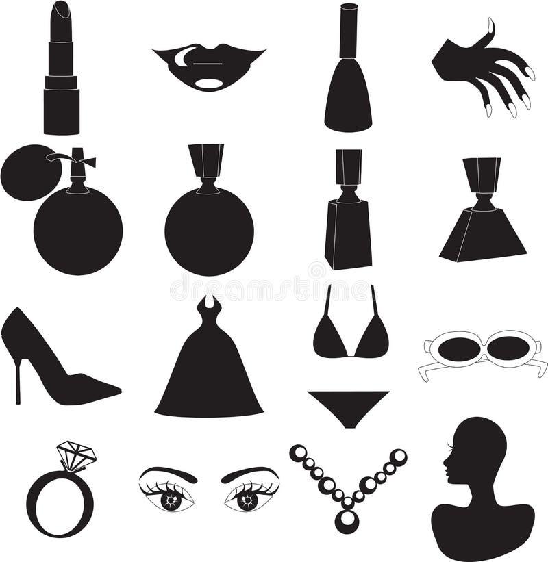 Ícones da beleza ilustração do vetor