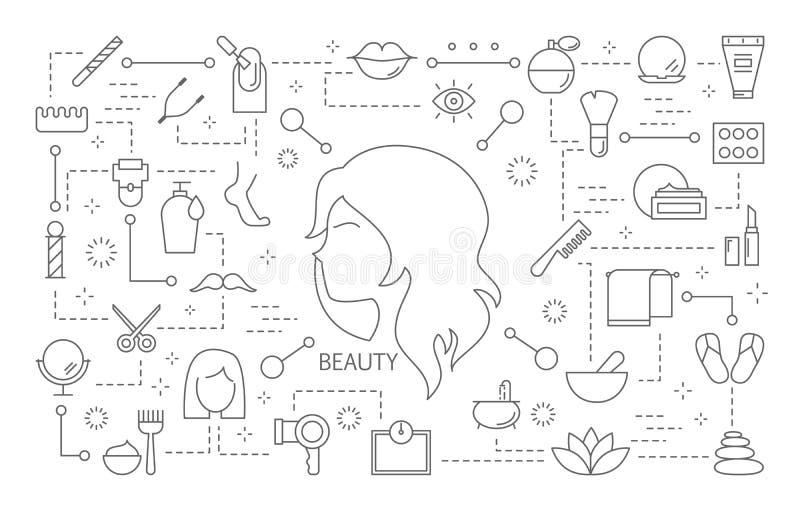 Ícones da beleza ajustados ilustração royalty free