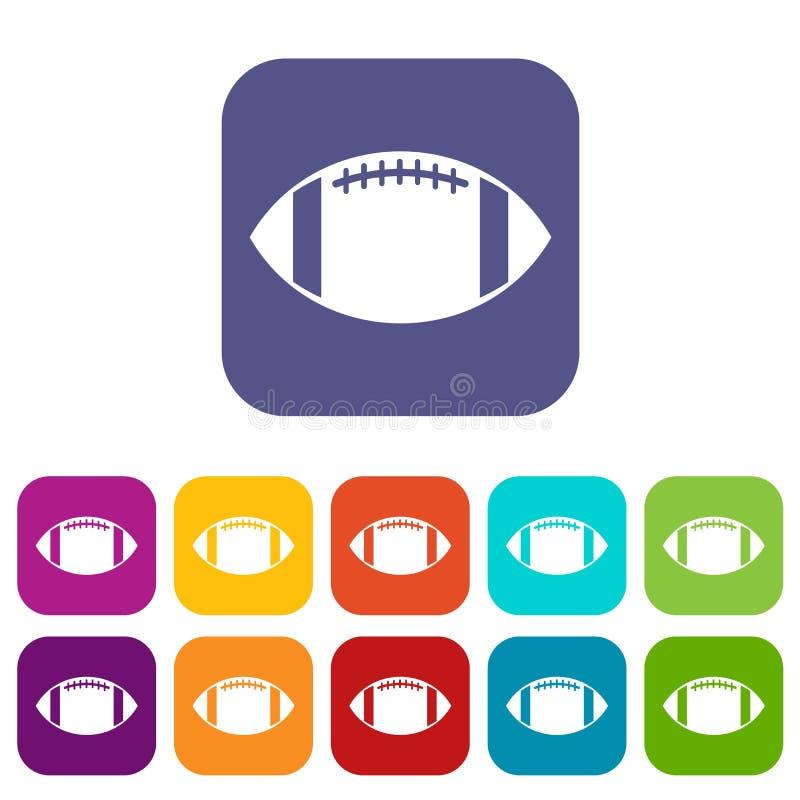 Ícones da bola de rugby ajustados ilustração do vetor
