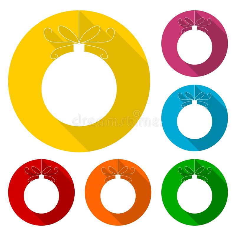 Ícones da bola do Natal ajustados com sombra longa ilustração stock