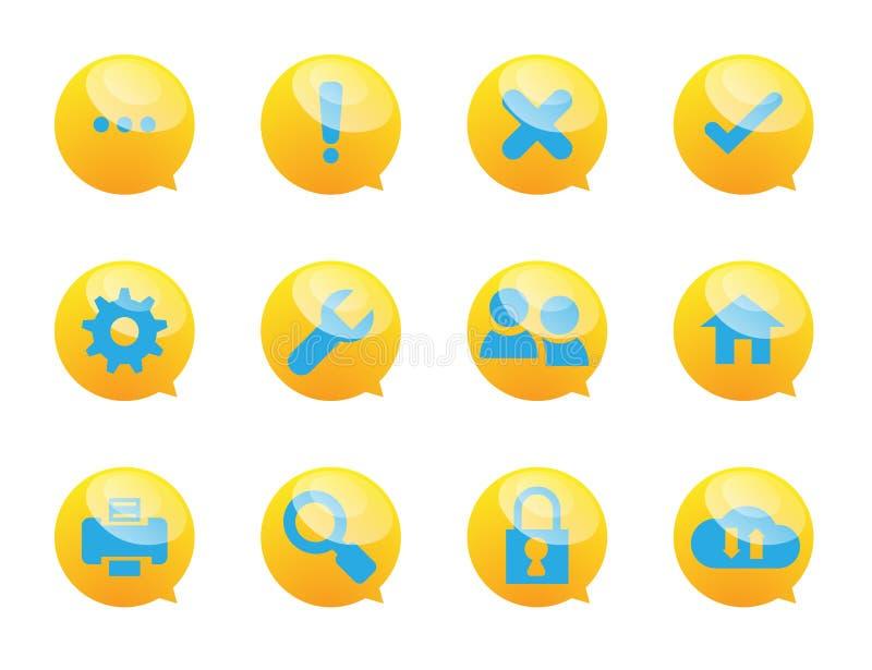 Ícones da bolha de voz e dos serviços do sistema ilustração do vetor