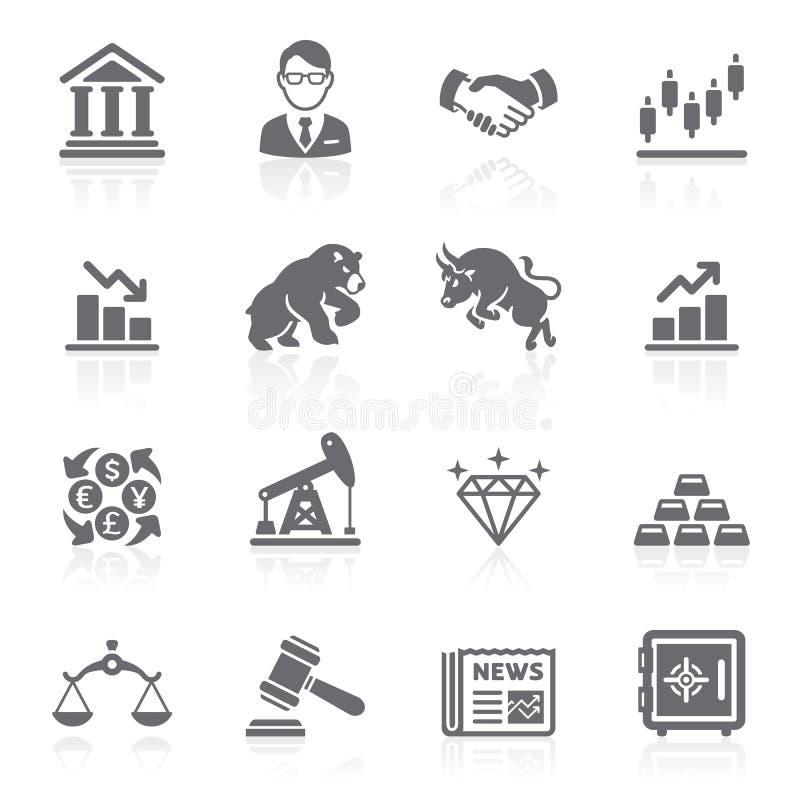 Ícones da bolsa de valores do negócio e da finança.