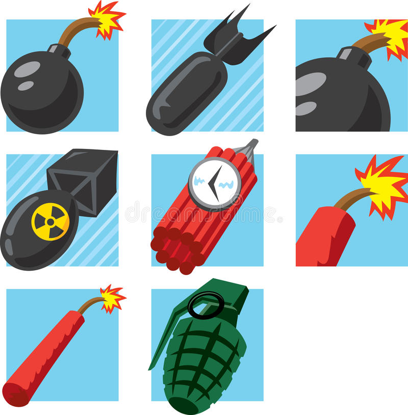Ícones da bomba ilustração stock