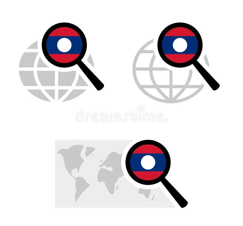 Ícones da busca com bandeira de laos ilustração stock