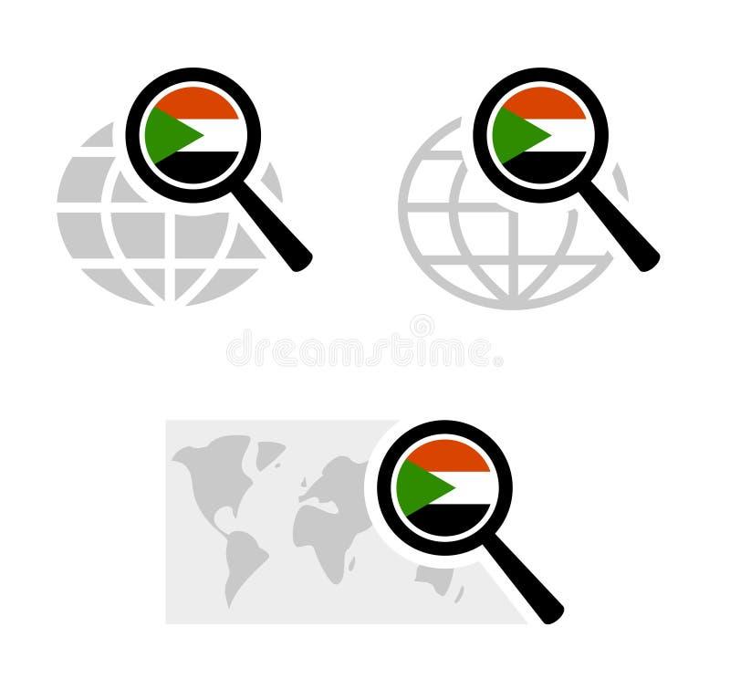 Ícones da busca com bandeira de Sudão ilustração royalty free
